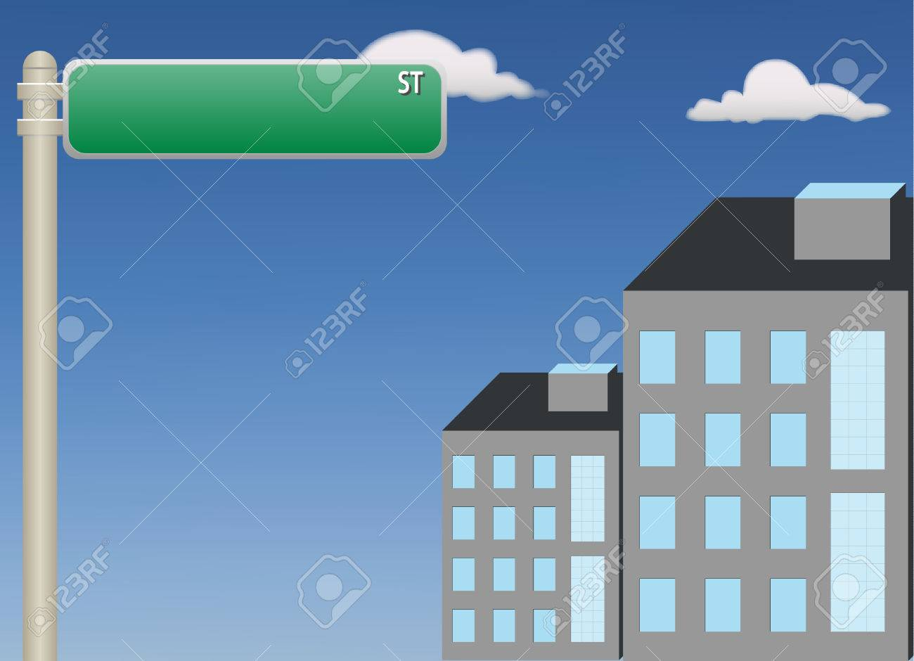 A vector illustration showing a  street sign attached to a pole on blue sky Stock Vector - 8302372