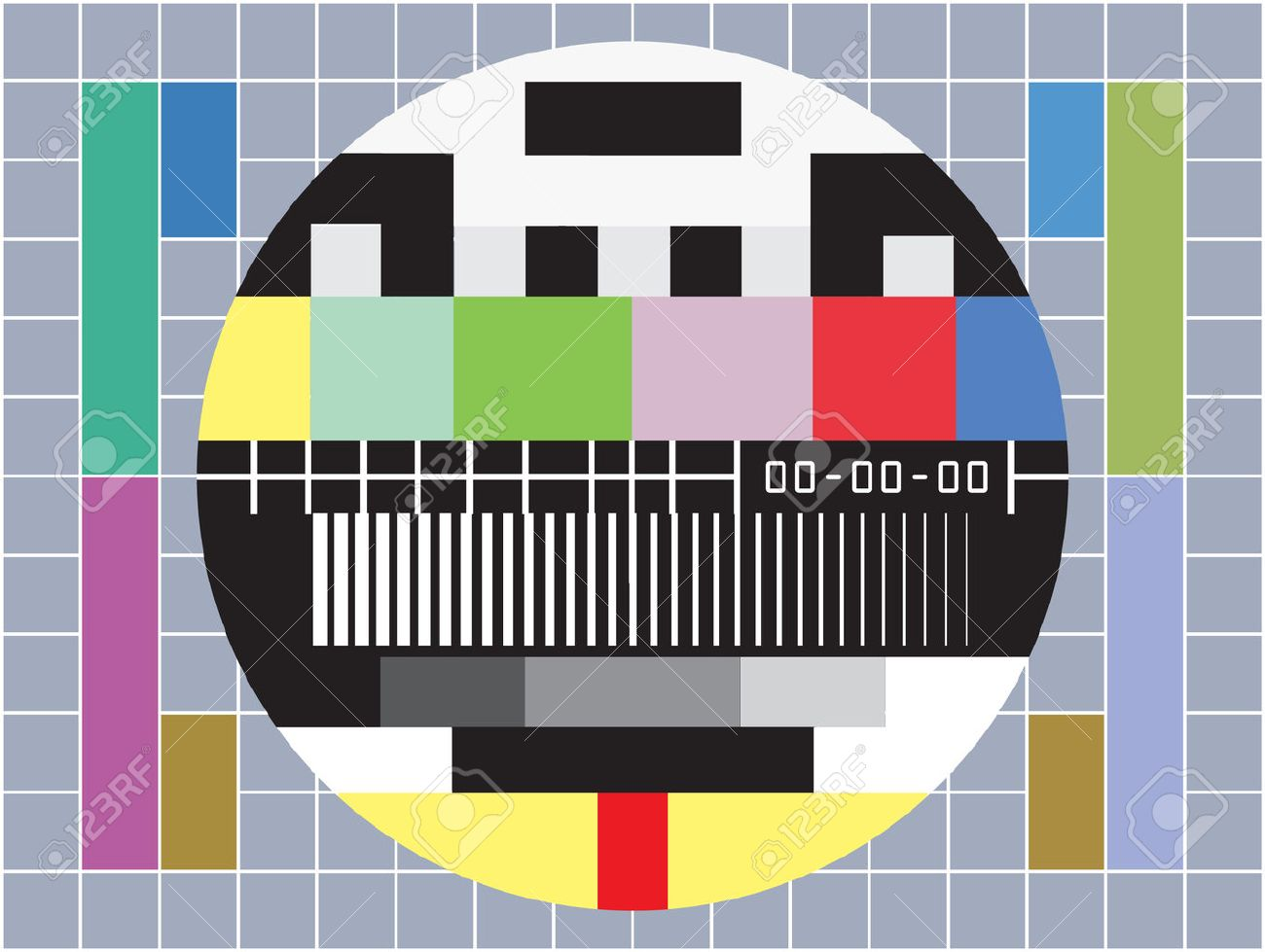 vector illustration of  a  tv with test screen with no signal Stock Vector - 8354755