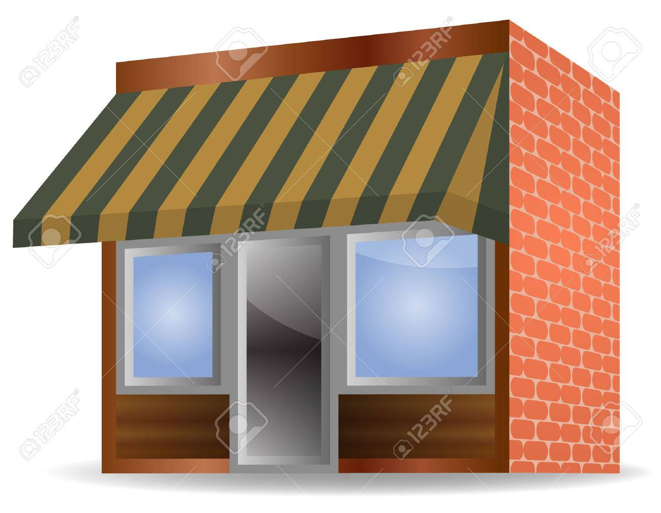 Vector Illustration Of Store Front Awning On White Background Stock