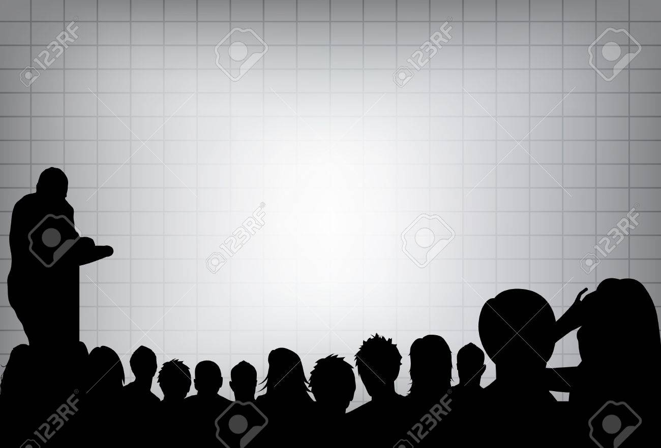 a person doing a presentation at a business conference or product marketing in front of crowd to audience. add your copy text on blank projection screen. Stock Vector - 8518597