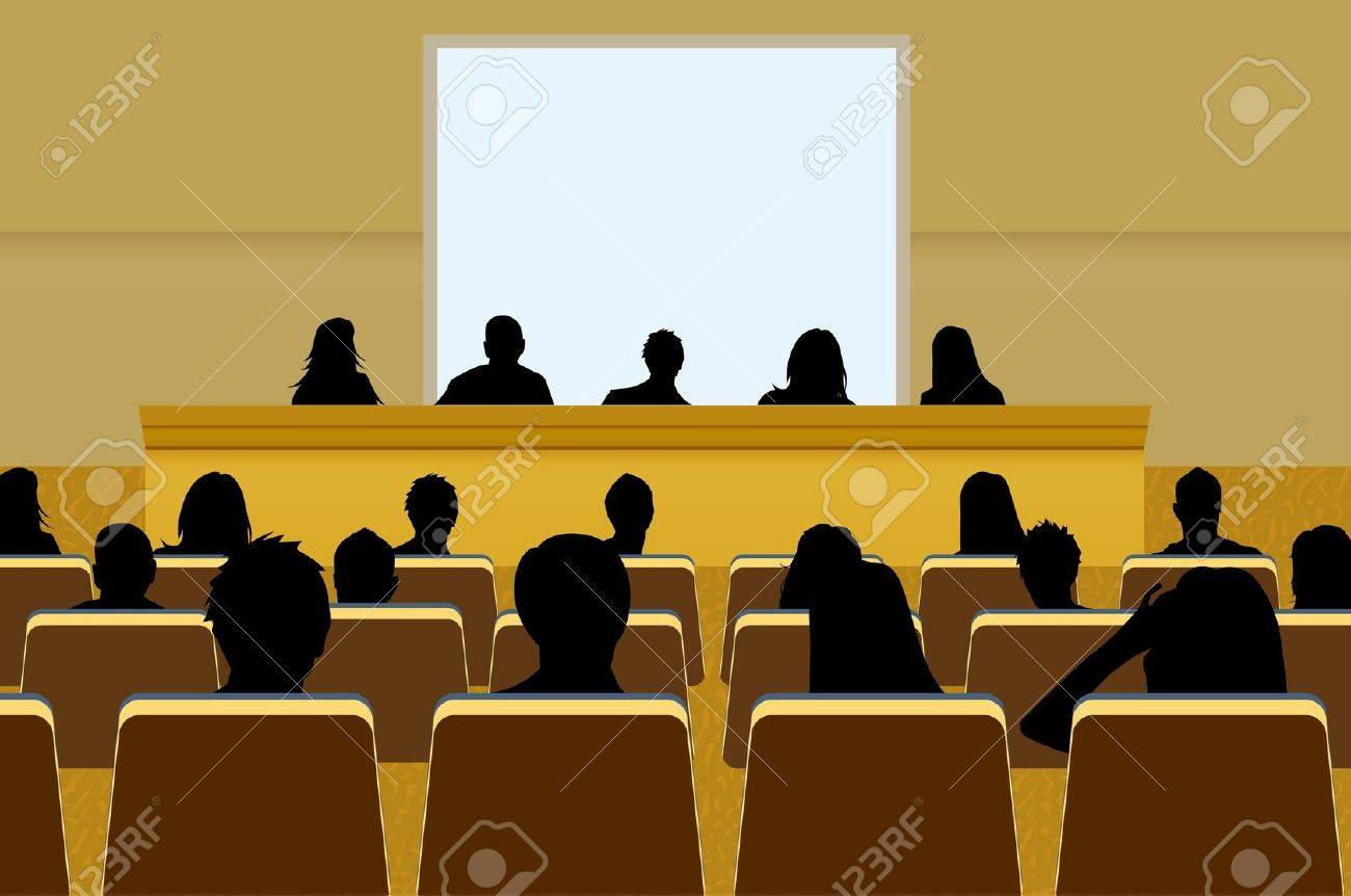 a person doing a presentation at a business conference or product marketing in front of crowd to audience. add your copy text on blank projection screen. Stock Vector - 8518595