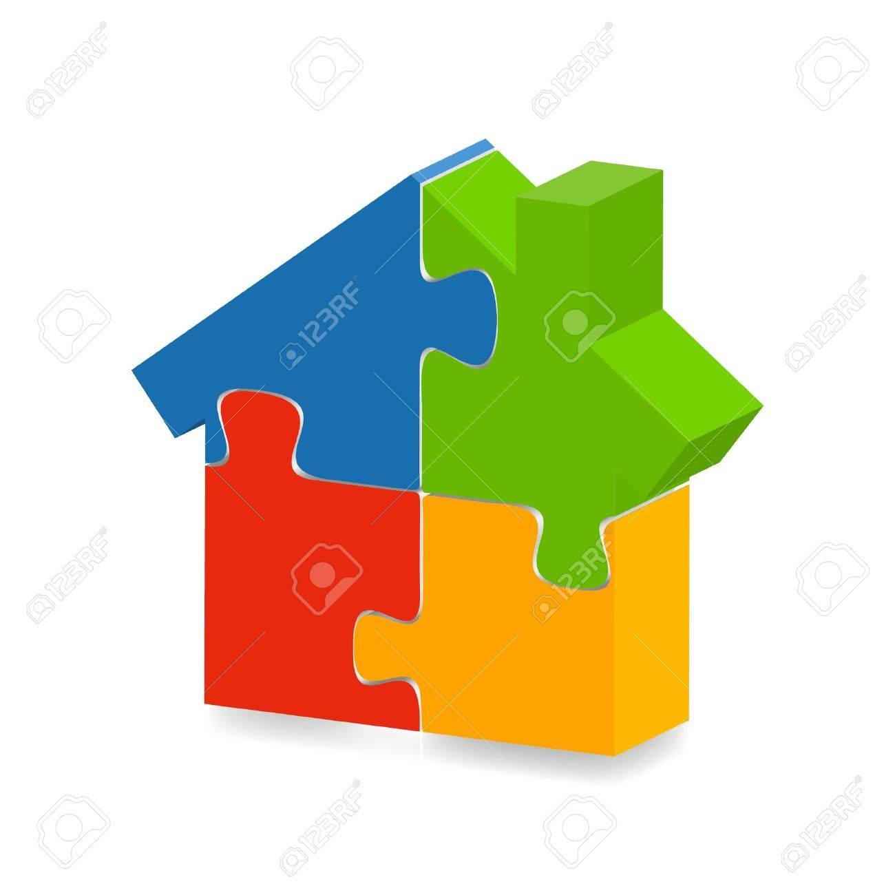 illustration of  a  house puzzle with a shadow underneath Stock Vector - 8544492