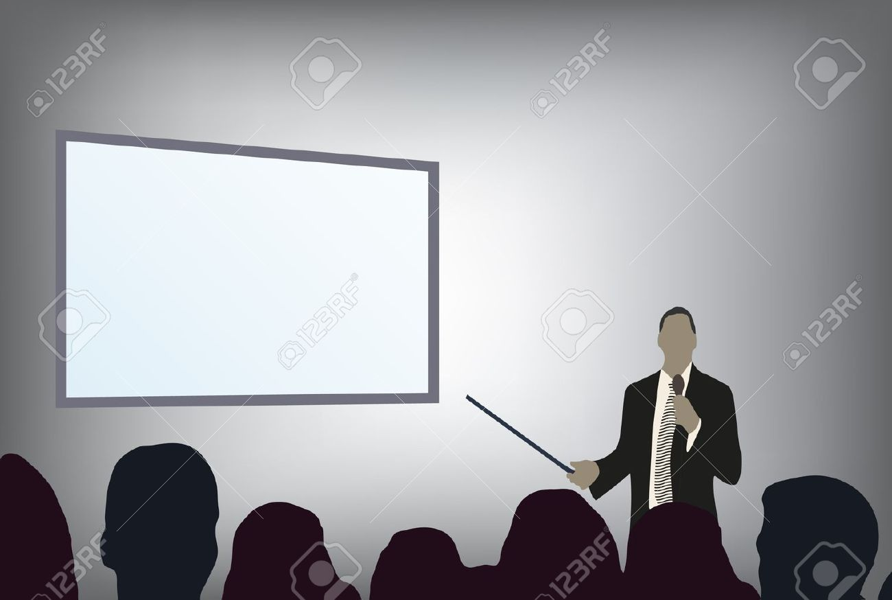 a person doing a presentation at a business conference or product marketing in front of crowd to audience. add your copy text on blank projection screen. Stock Vector - 8544553
