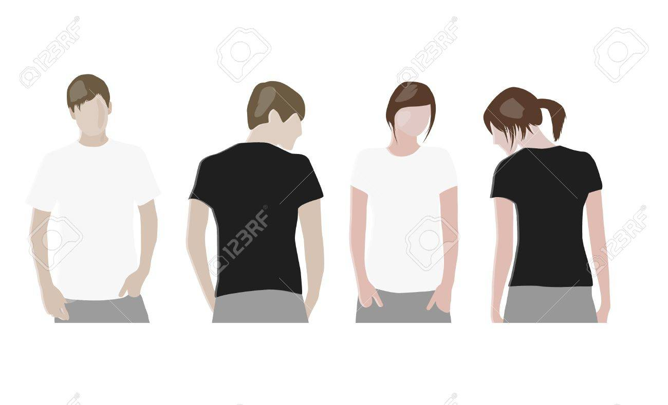 T Shirt Design Templates Front Back On Male And Female Models Stock