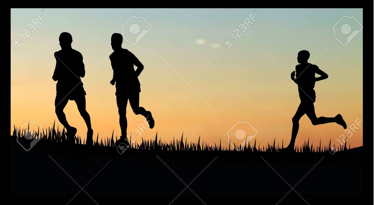 illustration of  people running/jogging in the sunset/sunrise Stock Vector - 8594869