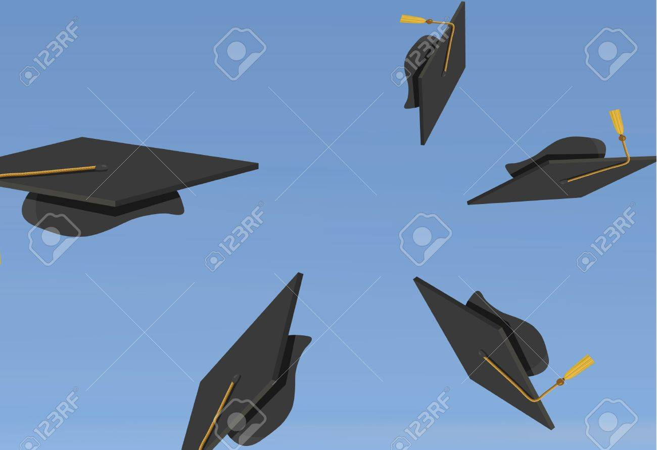 illustration of Graduation Caps Thrown in the Air Stock Vector - 8610645