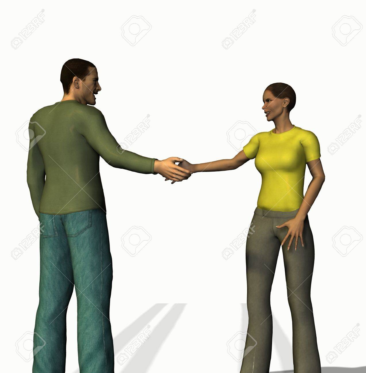 handshaking man and woman of 3d characters Stock Photo - 10289863