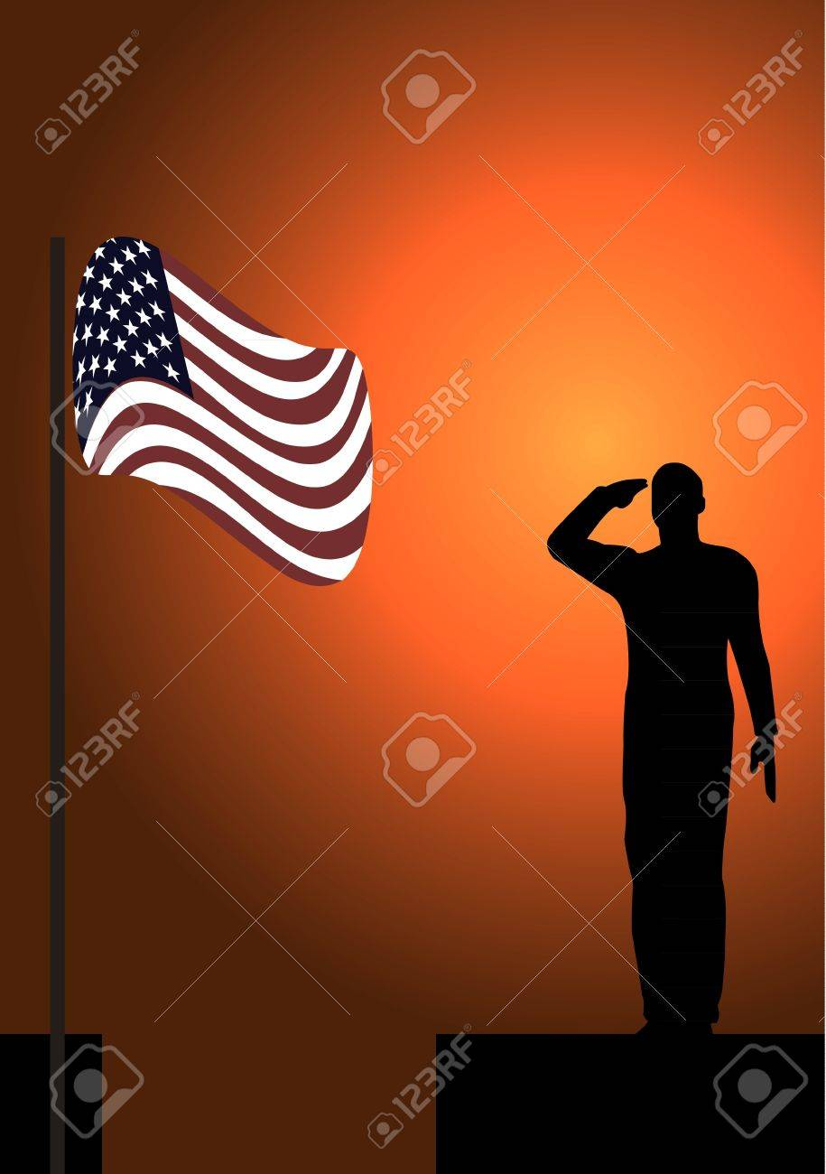 Silhouette of an army soldier on a platform saluting a usa flag Stock Vector - 10339096