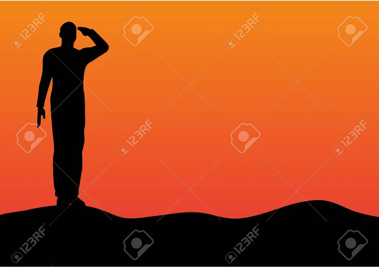 silhouette of an army soldier saluting on hills against sunset stock vector 10339100