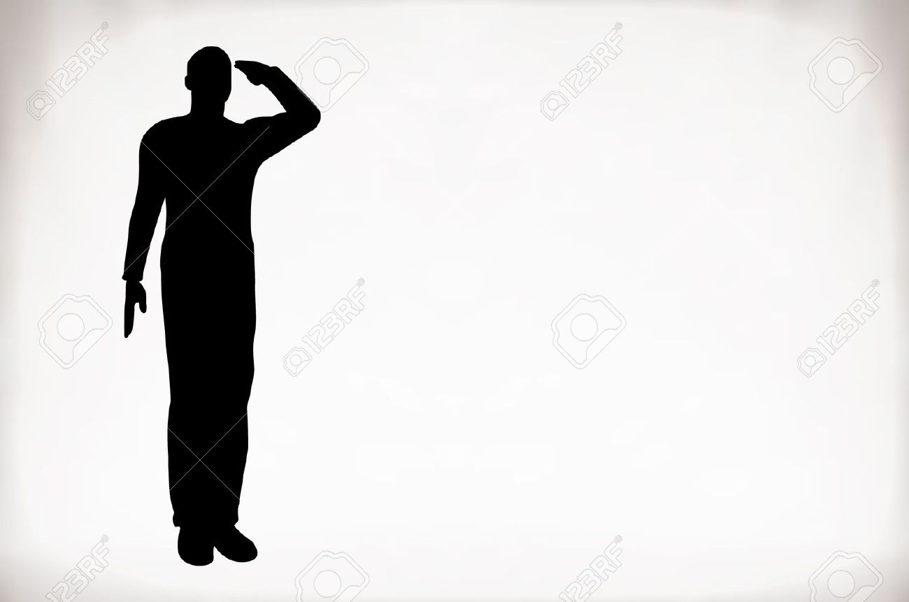Silhouette of an army soldier saluting Stock Vector - 10339107