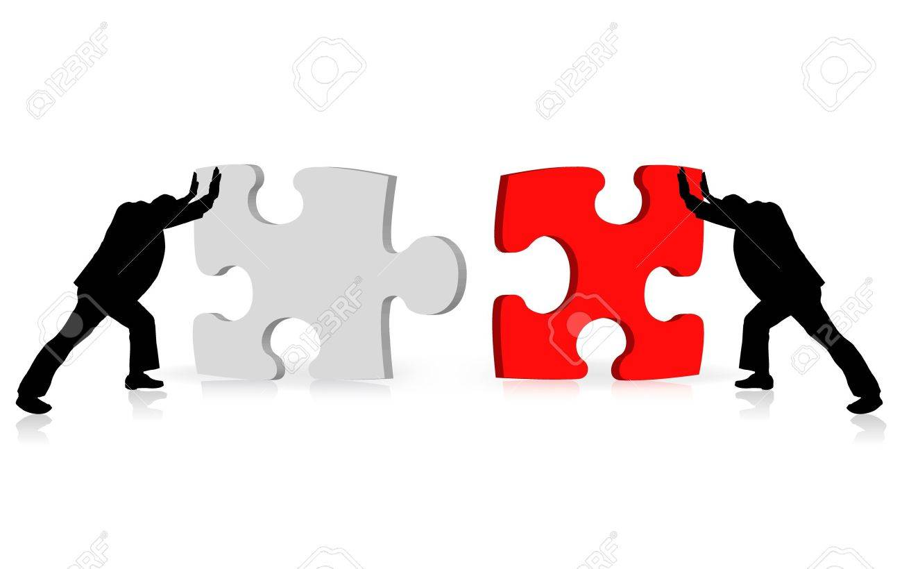 business concept of achievement of success illustrated via puzzle togetherness - 10816477