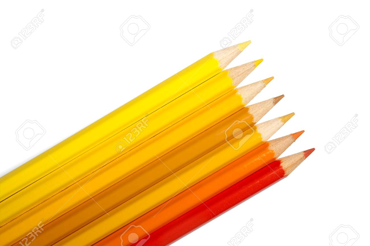 Ensemble De Crayons De Couleurs Jaune Orange Palette Isolé Banque D