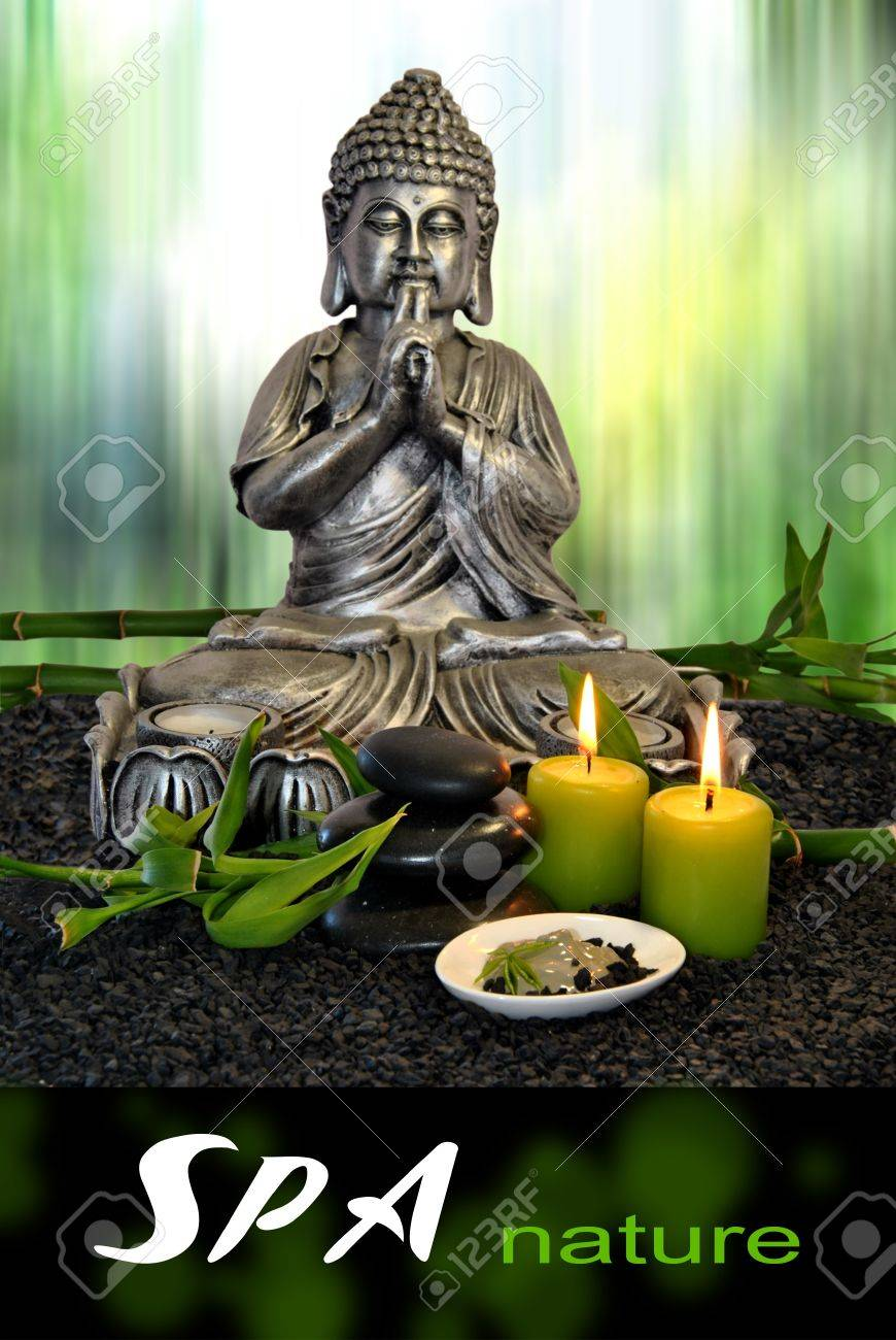 Buddha with massage stones and green clay with candles - 19263321