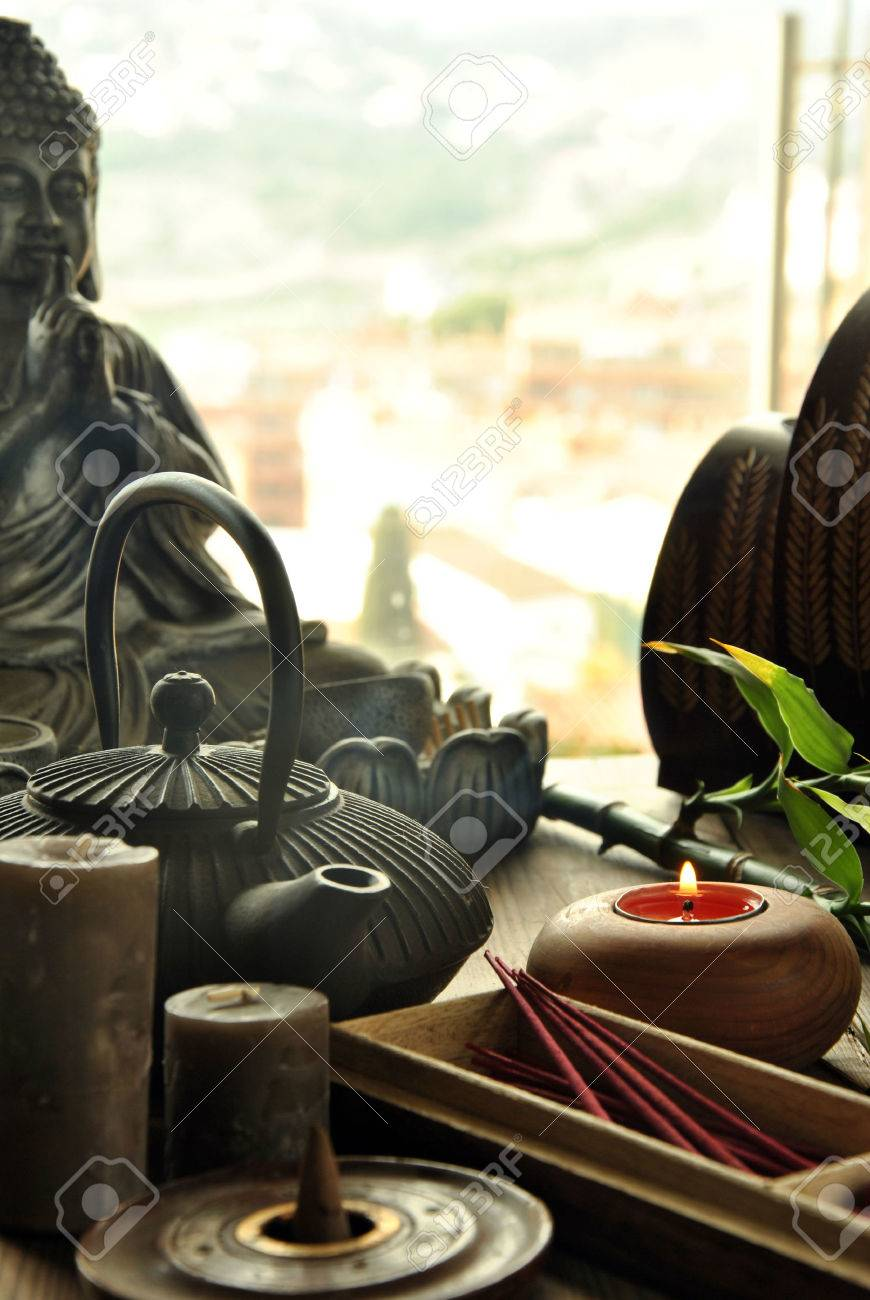 VARIOUS TYPES OF INCENSE WITH TEAPOT AND BUDDHA STATUE - 38361831