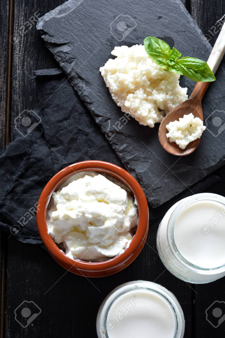 products that come from the kefir, such as the yoghurt and the cheese - 65511613