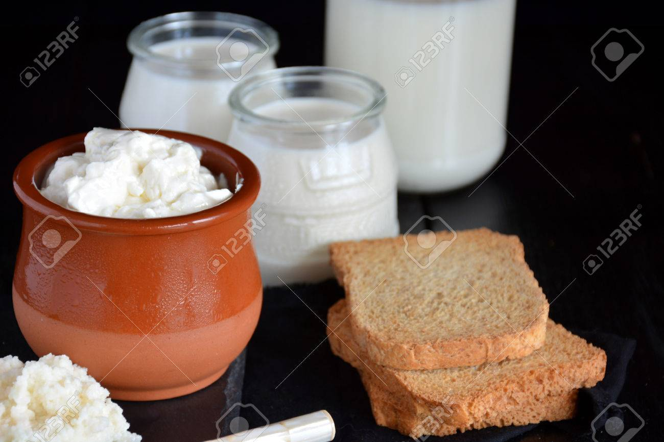 products that come from the kefir, such as the yoghurt and the cheese - 65511615