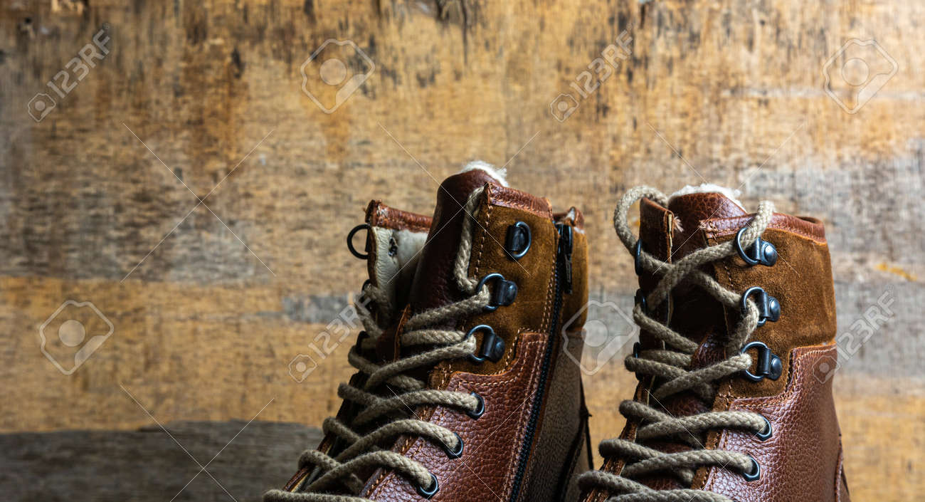 Real leather boots for men. Waterproof boots for walking in the mountains. Hard boots - 157246147