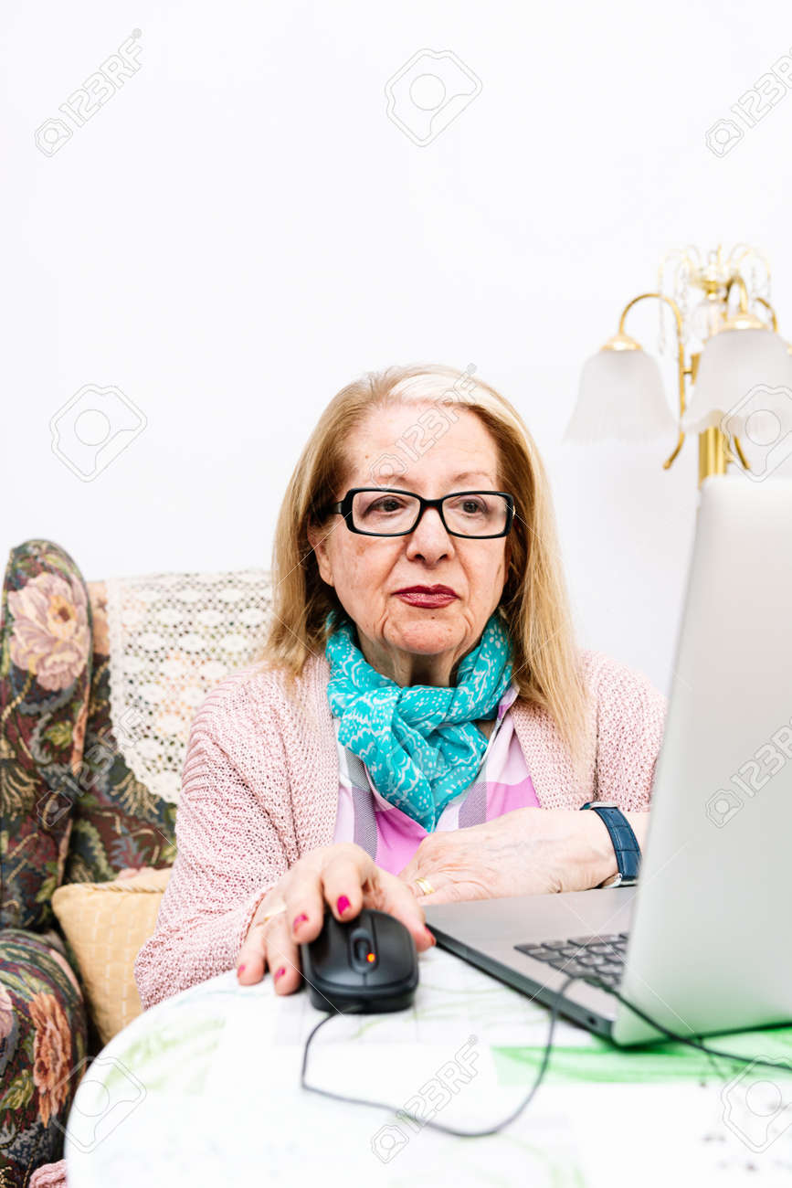 78-year-old grandmother using a laptop at home (concept of technologies for the elderly) - 169766992