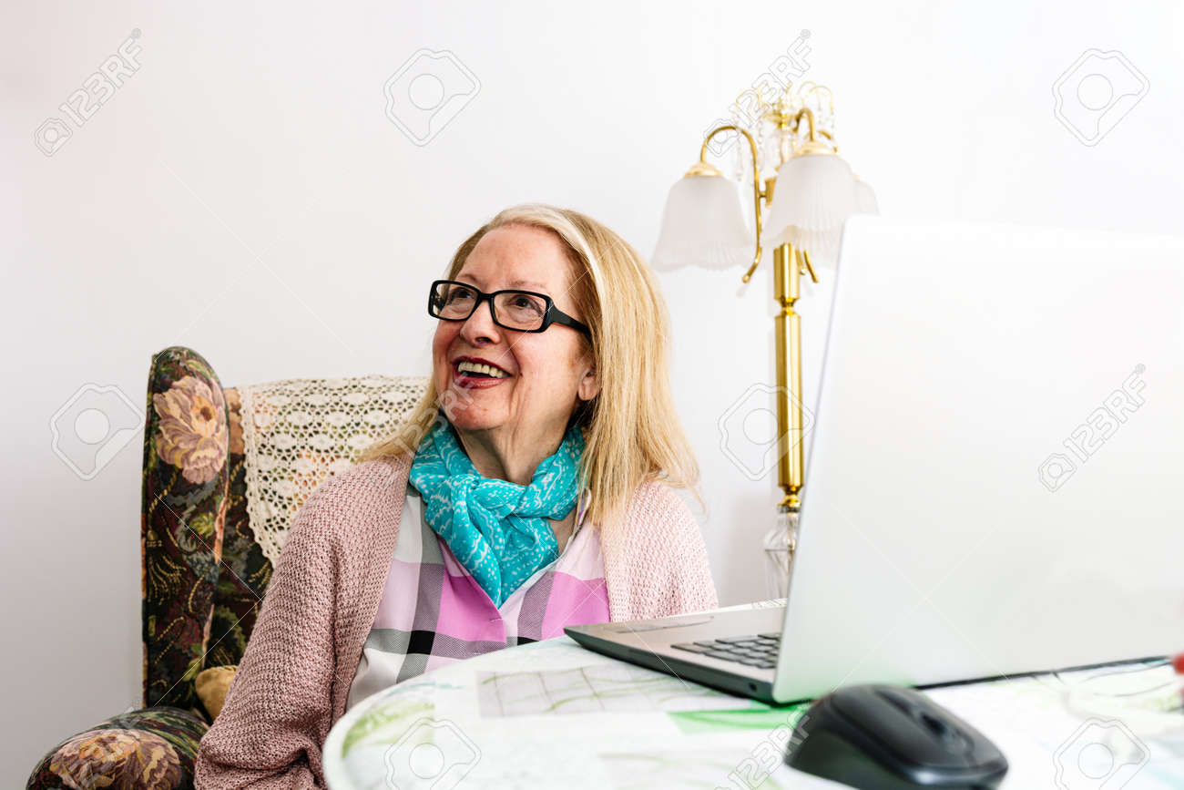 78-year-old grandmother using a laptop at home (concept of technologies for the elderly) - 169767036