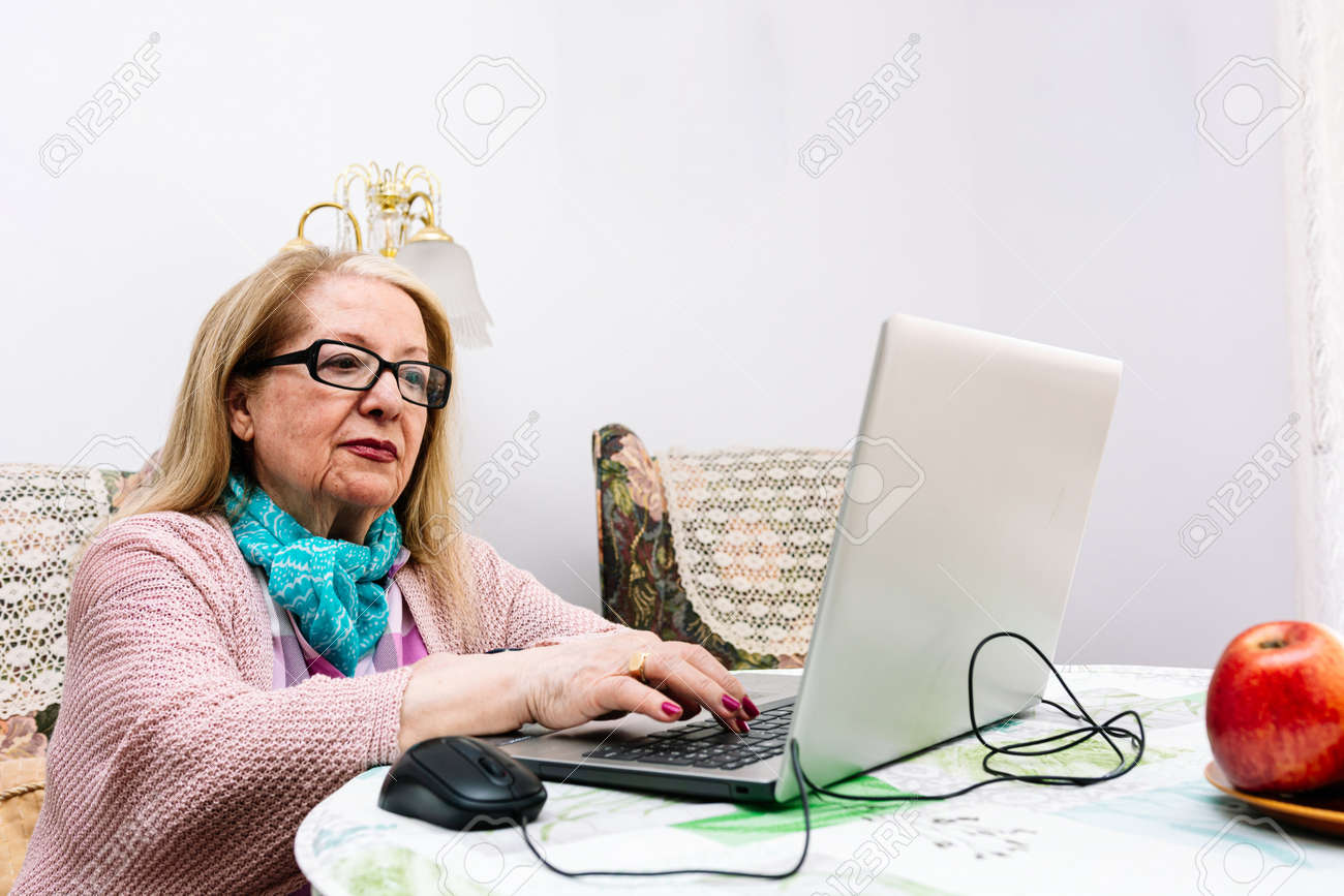 78-year-old grandmother using a laptop at home (concept of technologies for the elderly) - 169767175