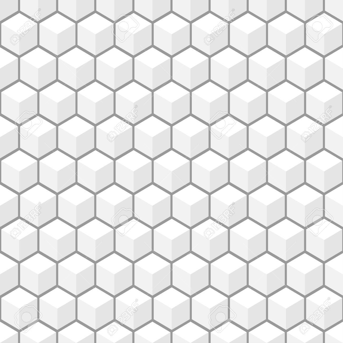 Vector 3d Pattern White And Grey Texture Seamless Background Stock