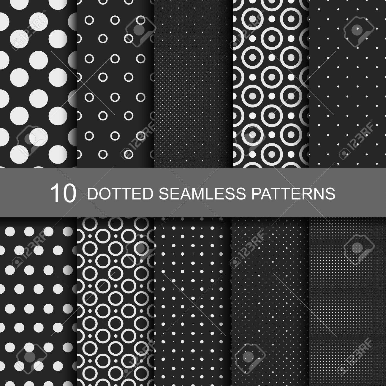 Collection of black seamless patterns with circles and dots. - 50371742
