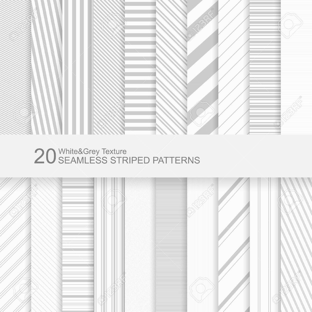 20 Seamless striped vector patterns, white and grey texture. - 50371748