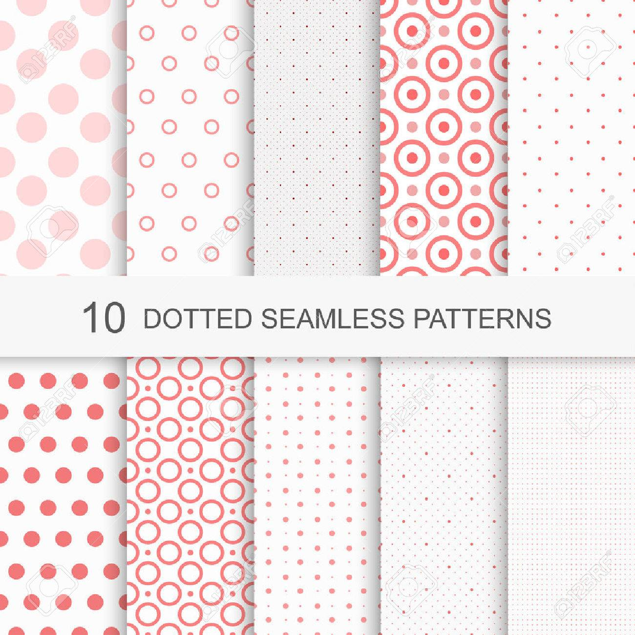 Set of charming seamless patterns with dots - 50487422