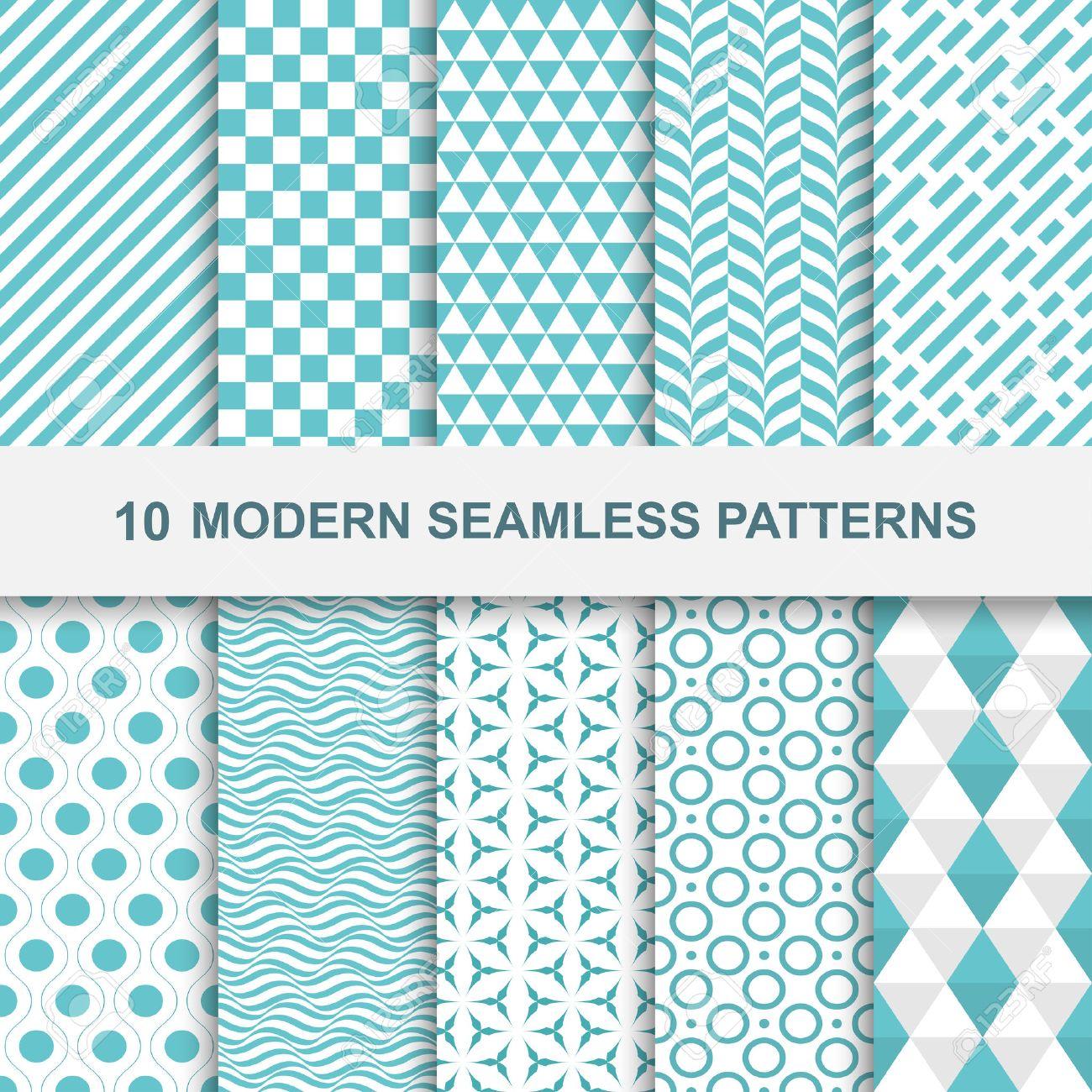 10 Modern seamless geometric patterns. Decorative green textures. - 52023700