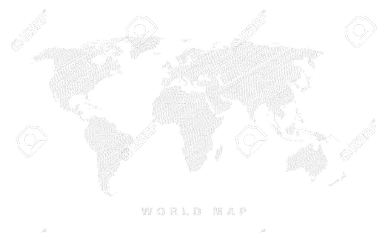 Shaded world map. Vector illustration - white and gray texture. - 57820281