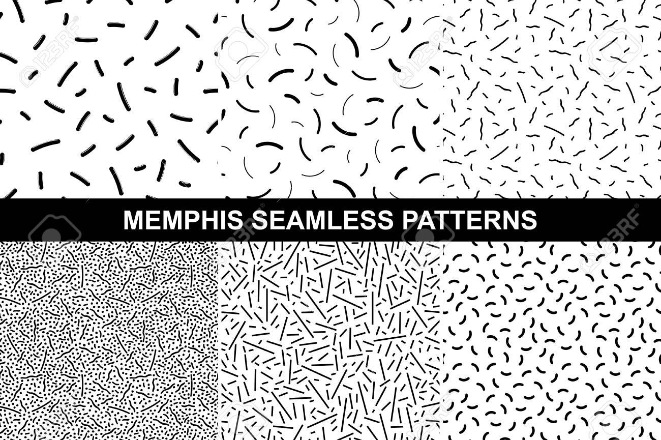 Colección De Patrones Retro Memphis - Sin Costura. Moda 80-90s ...