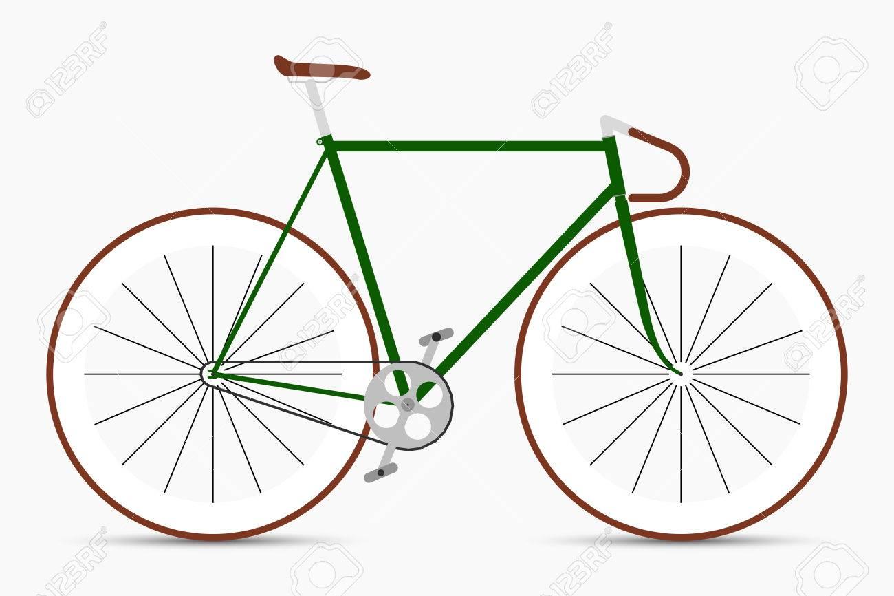 Hipster Single Speed ??Fahrrad In Grün- Und Brauntönen. Stadtfahrrad ...