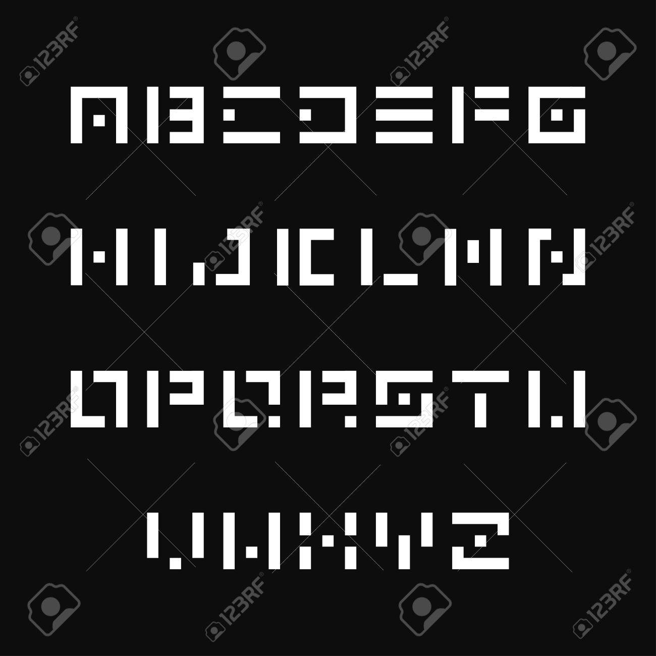 Simple Stencil Font Vector English Alphabet Similar To Origami Letters Stock
