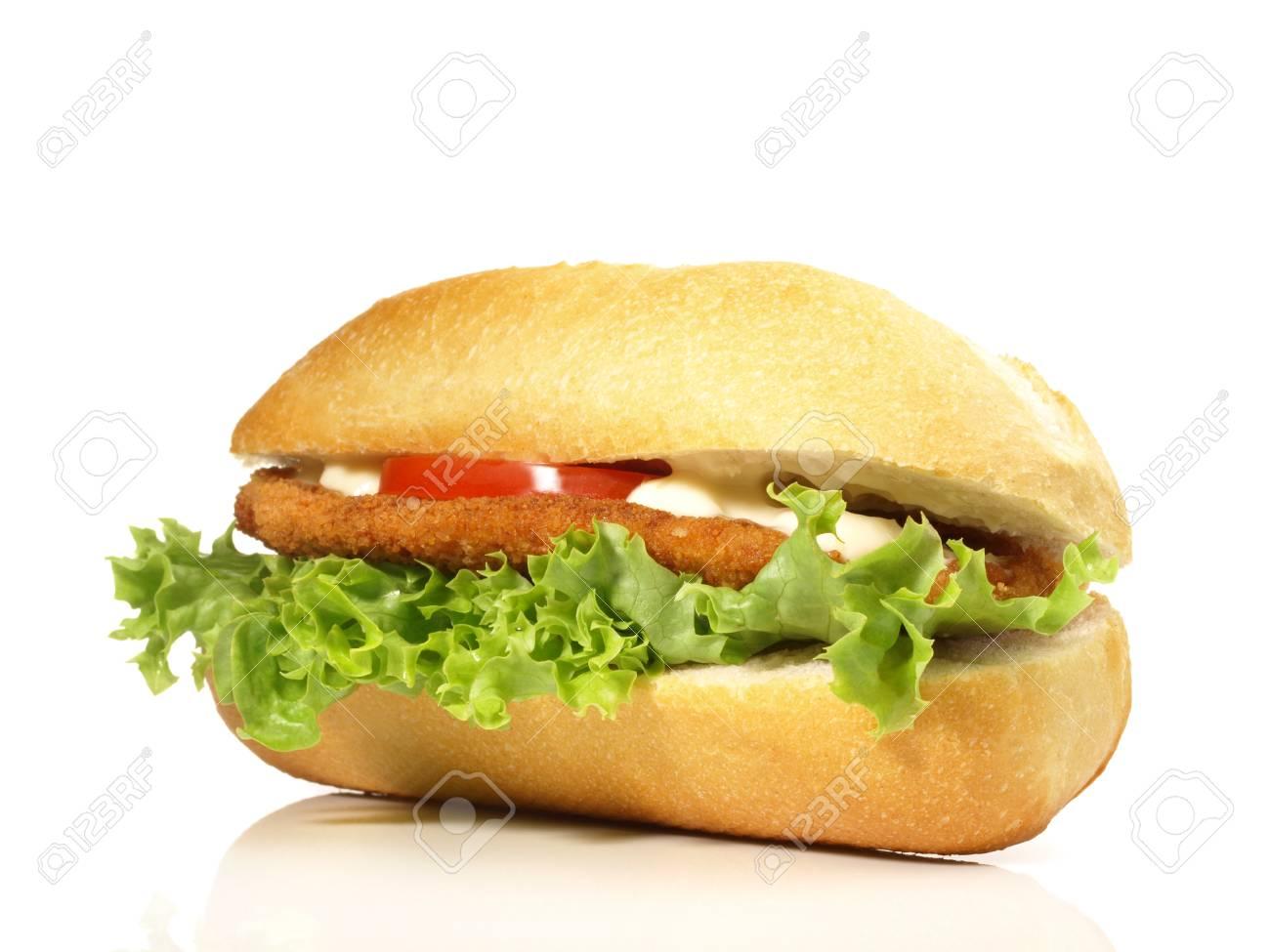 Chicken sandwich on white background - 121776509