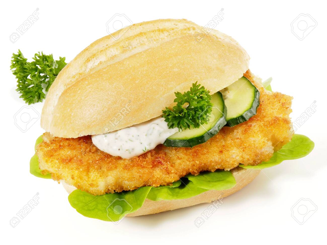 Breaded Schnitzel in a Bun with Sauce and Cucumber - 122000400