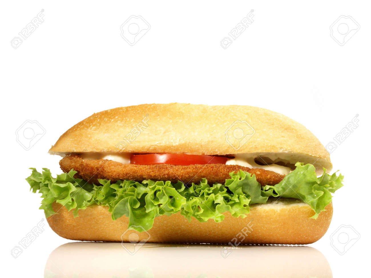 Chicken schnitzel baguette isolated on white background - 165849640