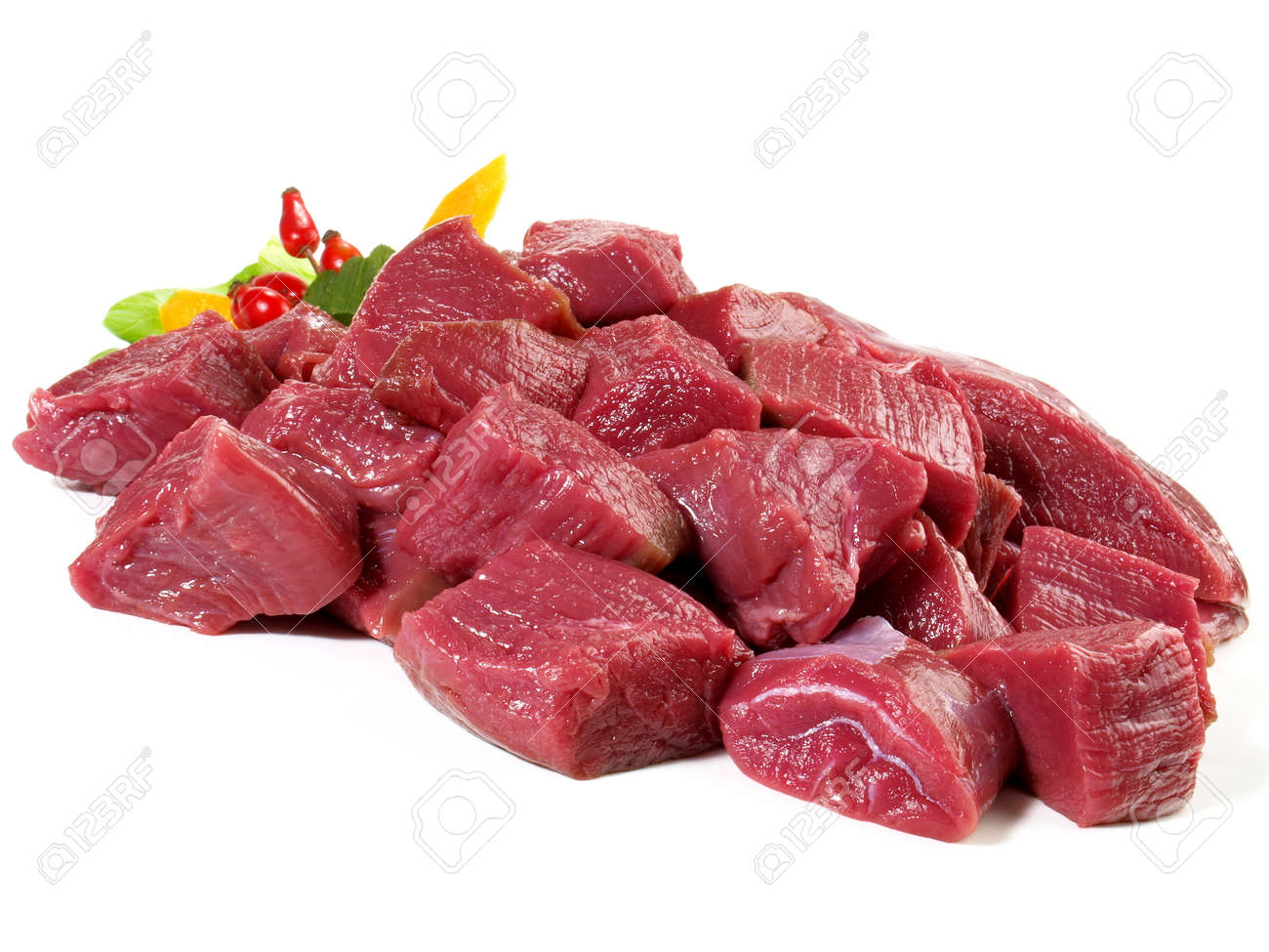 Raw Deer Ragout - Wild Game Meat Isolated on White Background - 167866723