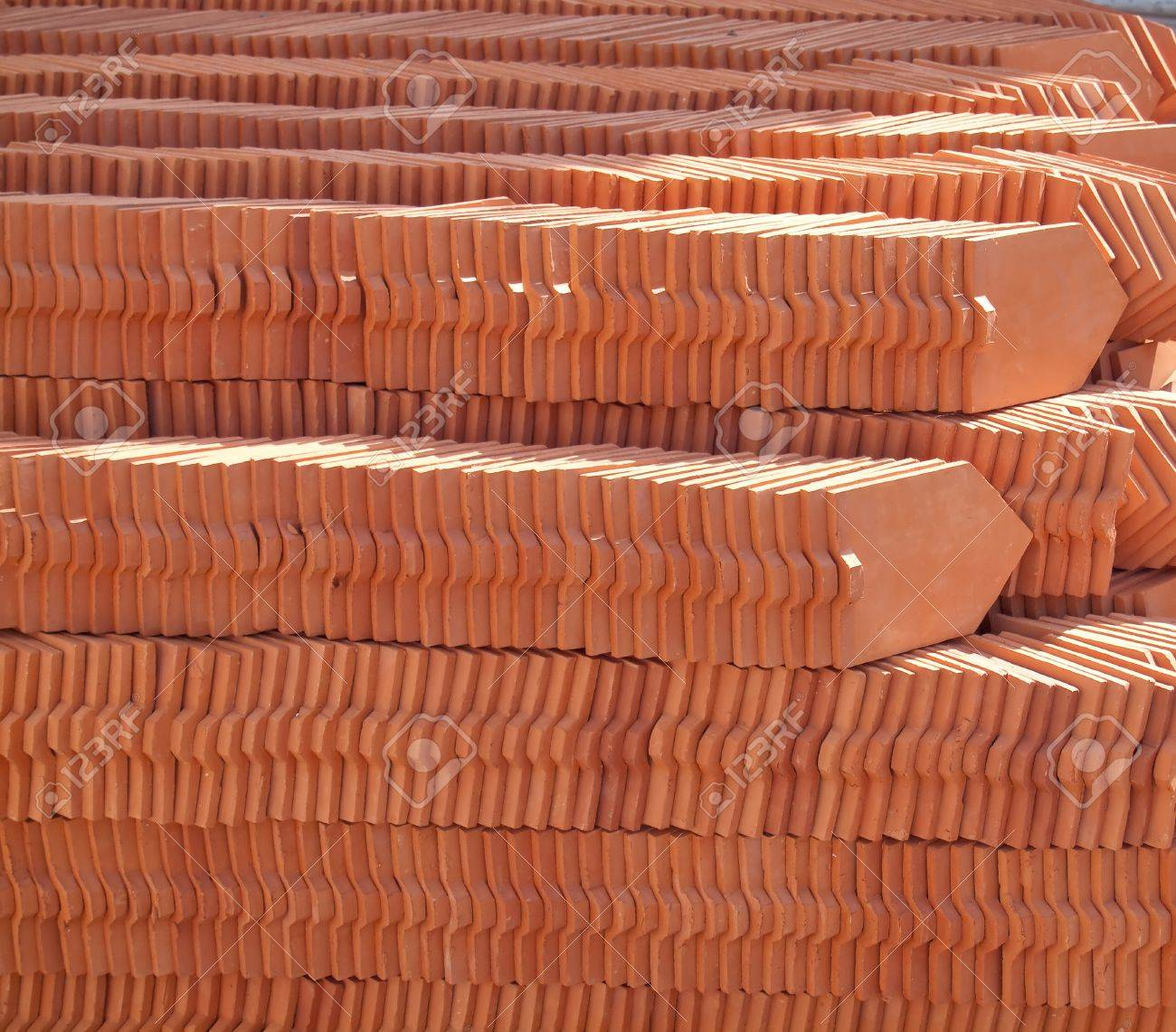 Piles And Stack Of Vintage Ceramic Roof Tiles Stock Photo Picture
