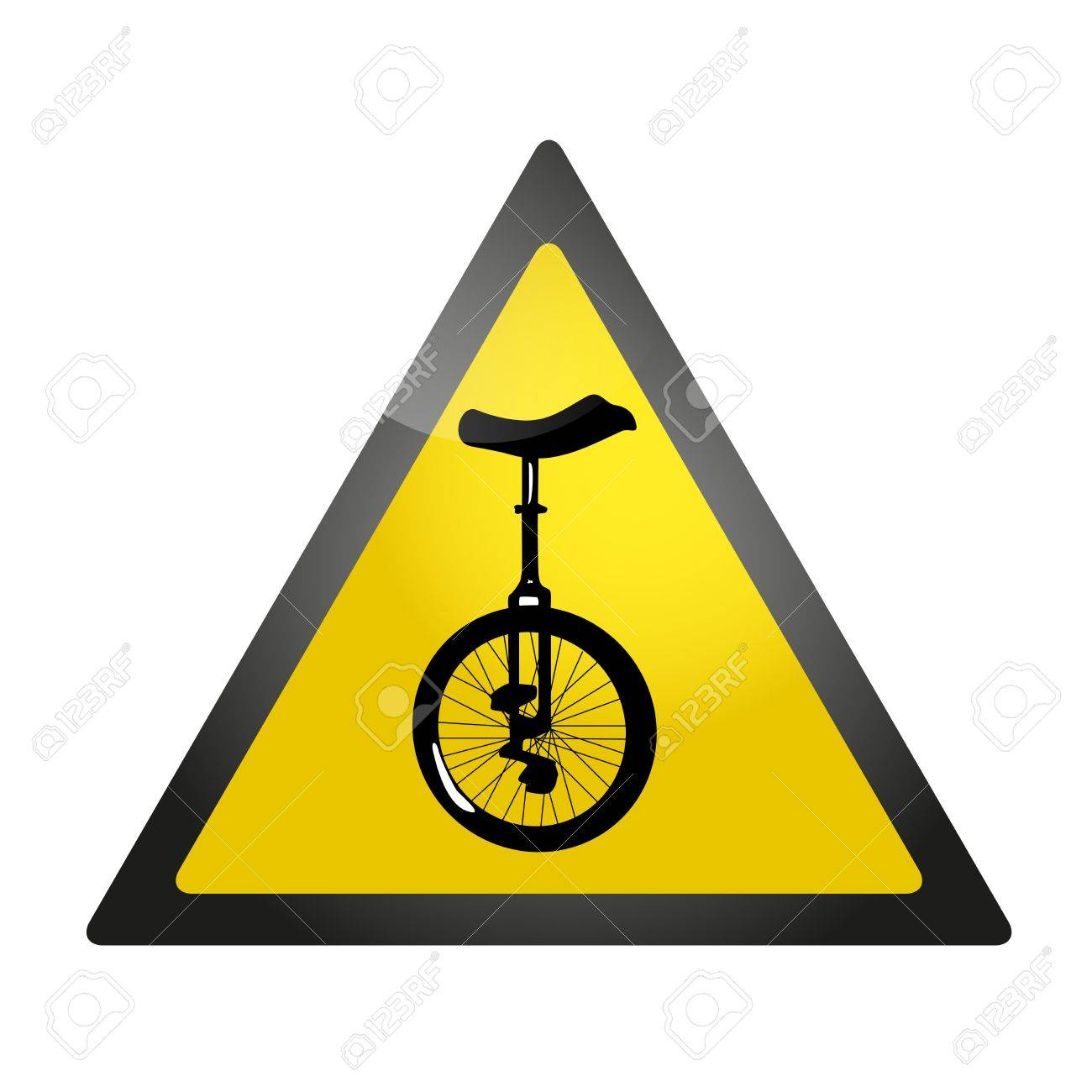 Yellow roadsign warning about a presence of unicycles Stock Vector - 21775914