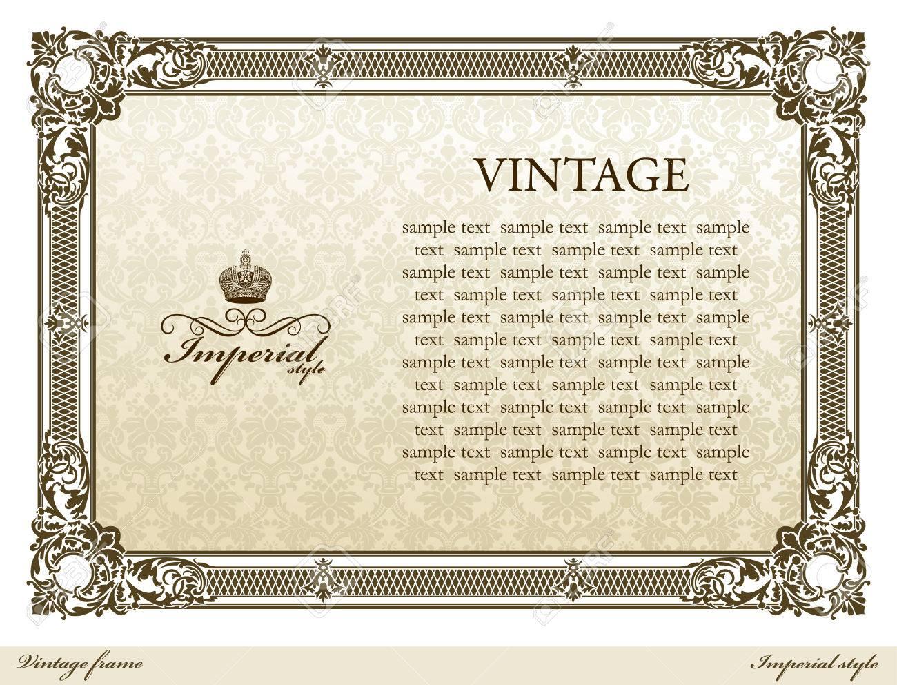 Medieval vintage decorative ornament frame brown.  illustration Stock Vector - 7998317