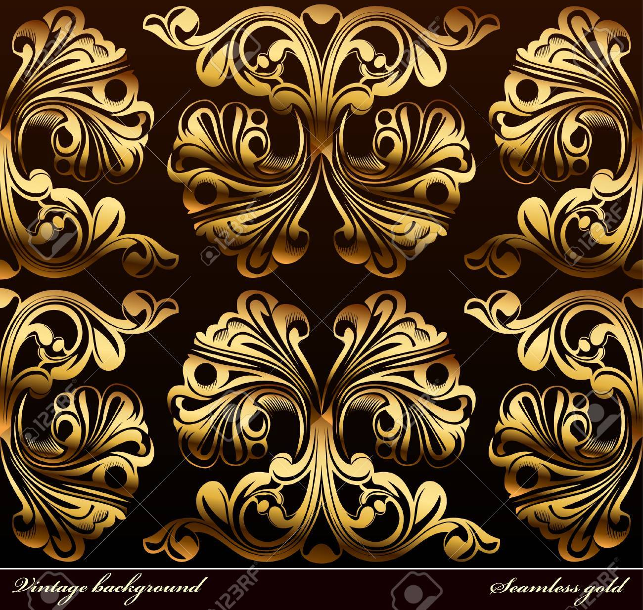 Seamless background Medieval Ornament gold. illustration Stock Vector - 7997832