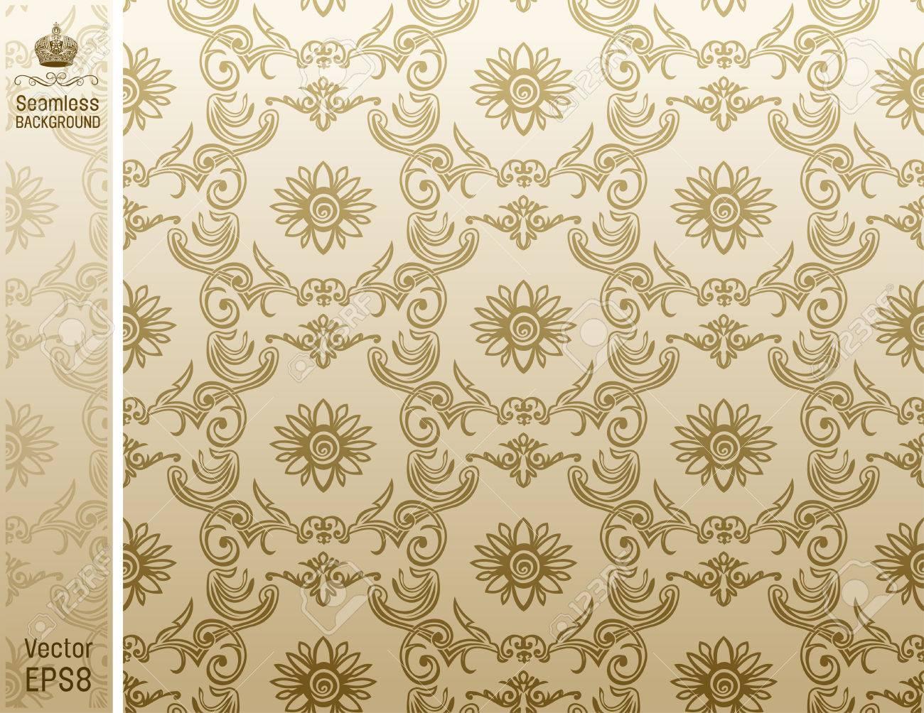 seamless flower wallpaper Pattern beige. illustration Stock Vector - 7997840