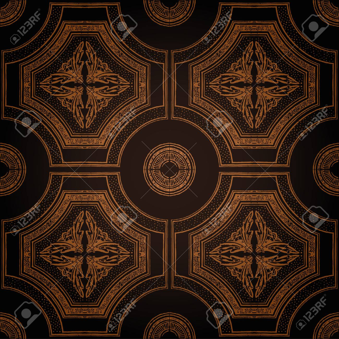 ceiling tile seamless vintage decorative black Stock Vector - 7998318