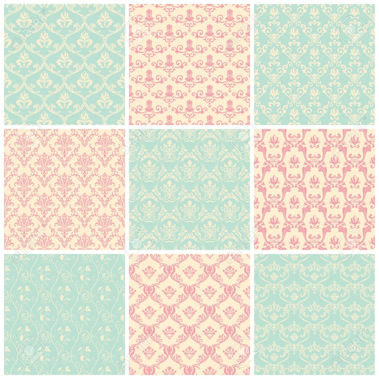 Backgrounds Set Seamless Wallpaper Floral Vintage Pastel Colors