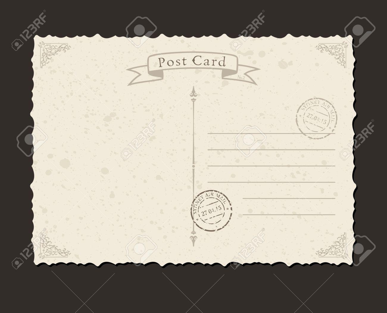 Grunge postcard and postage stamp. Design envelopes and letter - 40022109