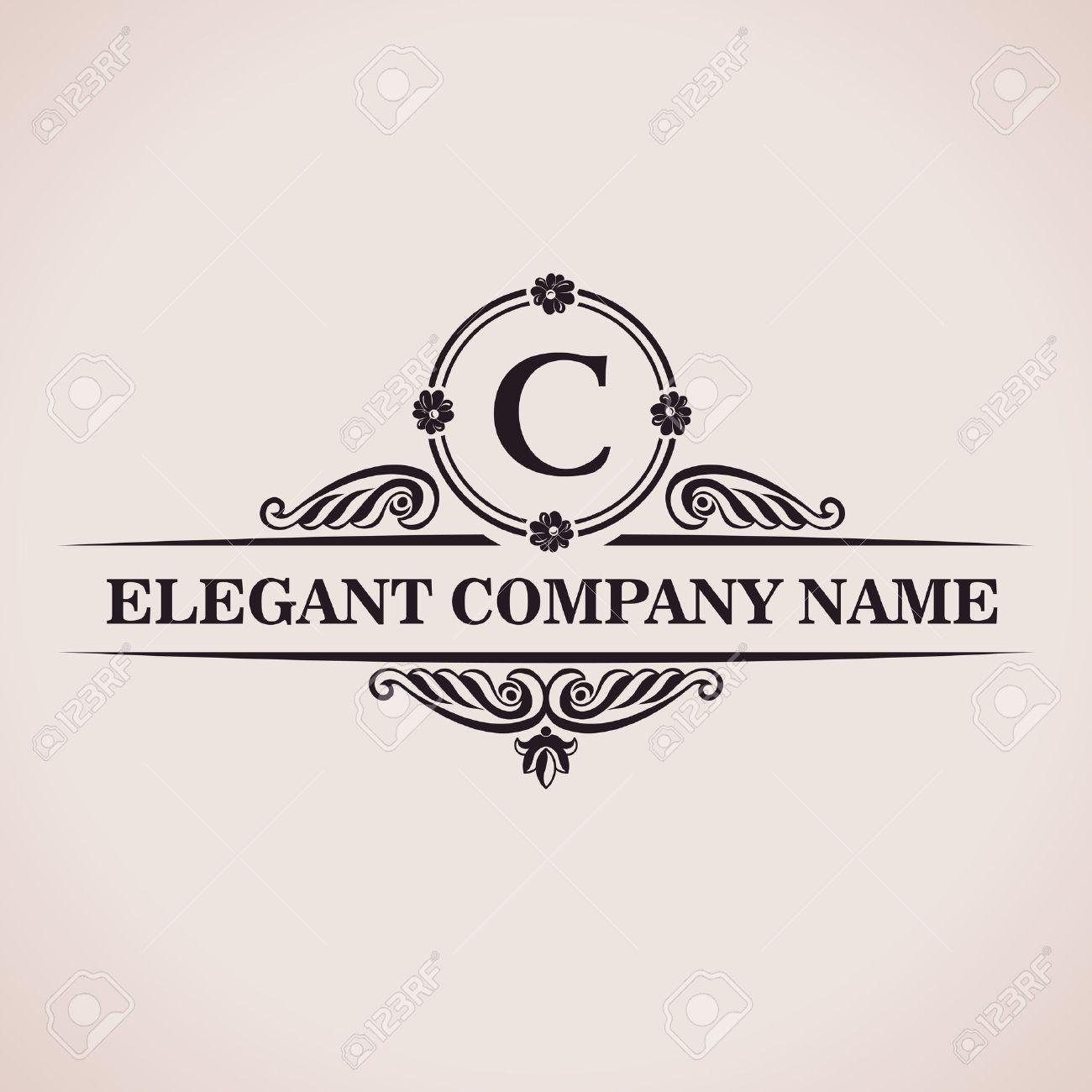 Luxury logo. Calligraphic pattern elegant decor elements. Vintage vector ornament C - 40022137