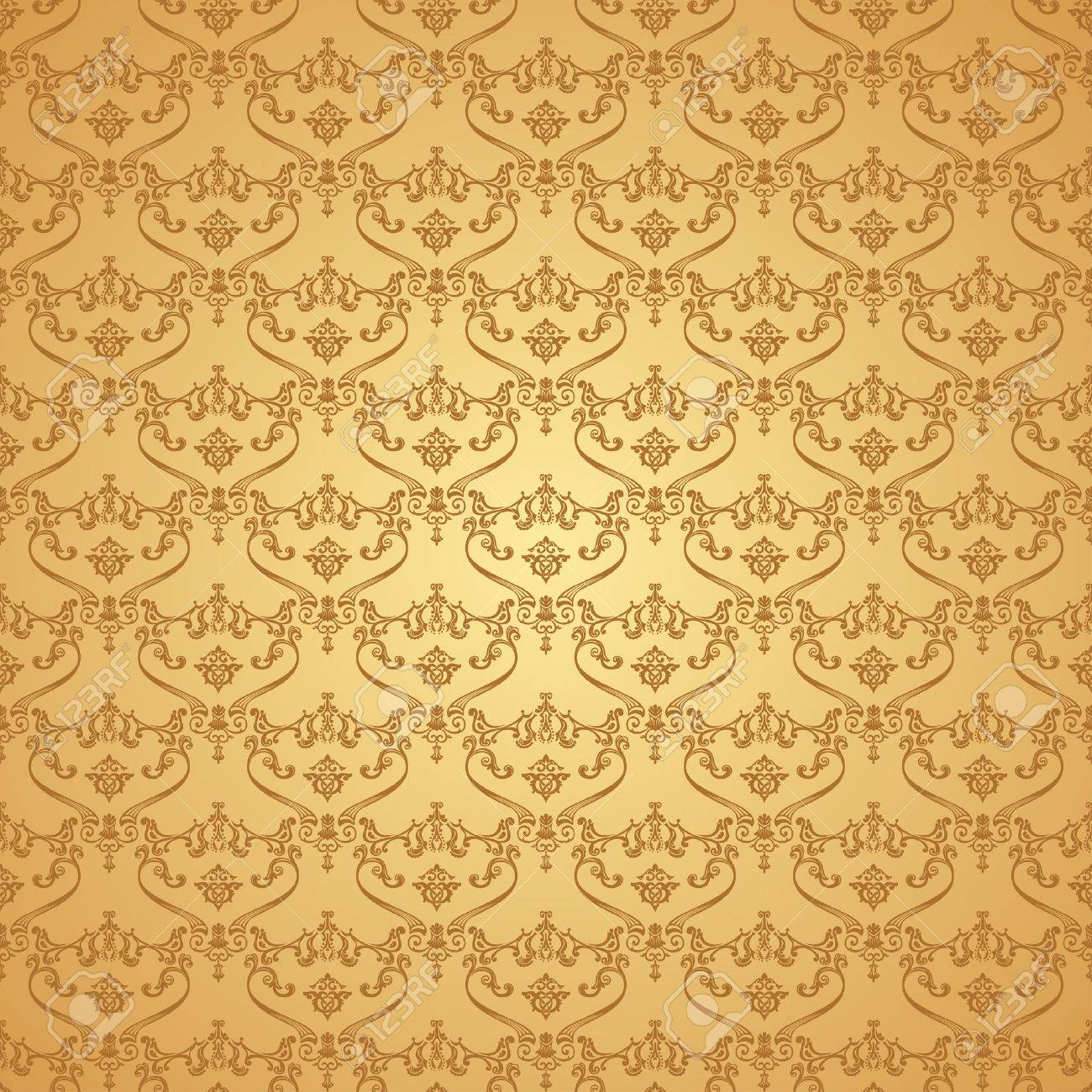 Vector Seamless Vintage Background Calligraphic Pattern Royal