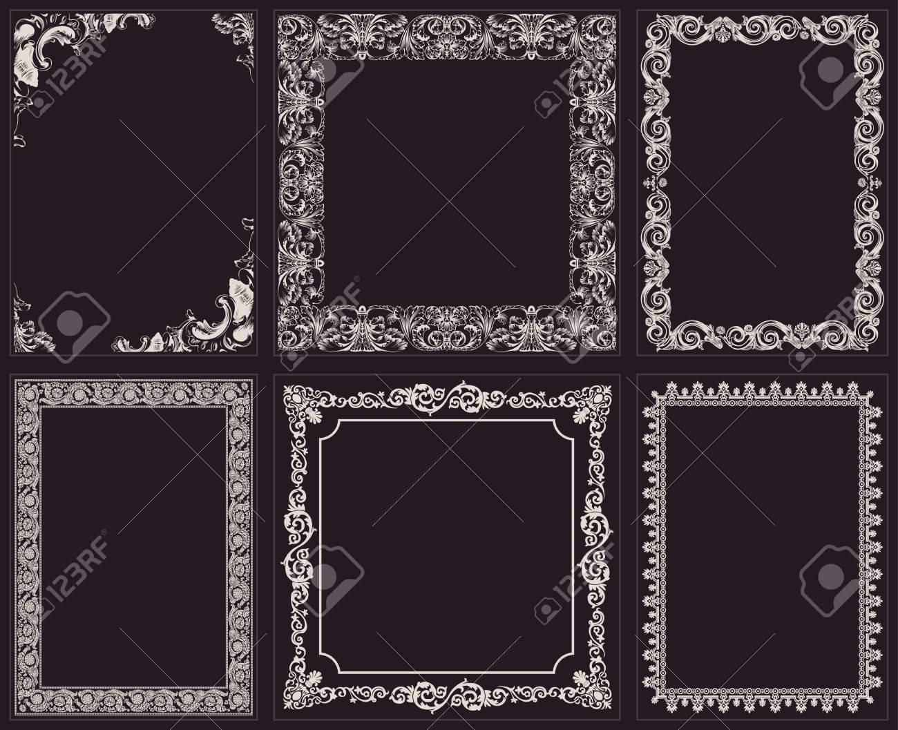 Vector calligraphic frames set baroque ornament and vintage vector calligraphic frames set baroque ornament and vintage black border stock vector 40022254 jeuxipadfo Image collections
