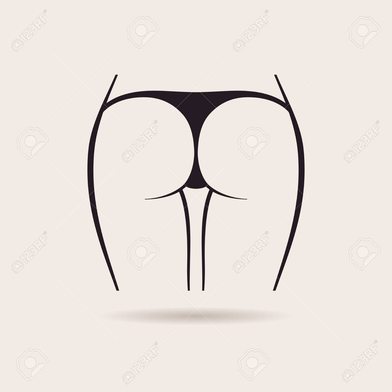 Sexy panties icon. Vector women in a thong - 40022260