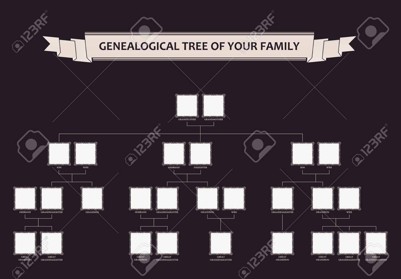 Rbol Genealógico De Su Familia. Vector Caligráfico Enmarca Ornamento ...